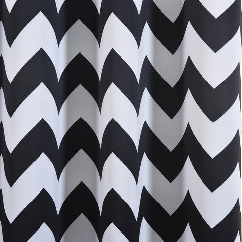 "Blackout Curtains 52x96"" White/Black Chevron Design Pack of 2 Thermal Insulated With Chrome Grommet Window Treatment Panels"