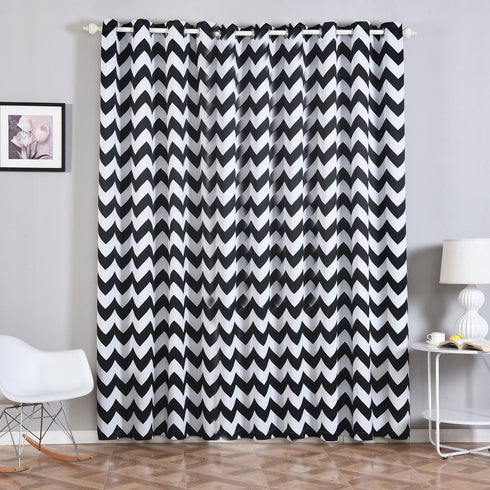 "2 Pack | 52""x96"" Chevron Design Thermal Blackout Curtains With Chrome Grommet Window Treatment Panels - White 