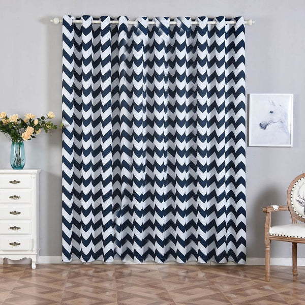"Pack of 2 | 52""x96"" Chevron Design Thermal Blackout Curtains With Chrome Grommet Window Treatment Panels - White 