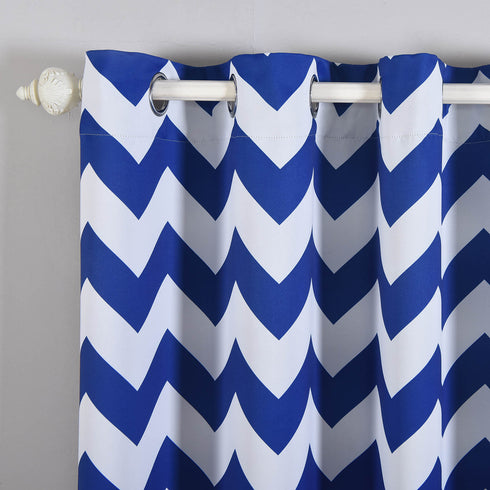 "Blackout Curtains 52x96"" White/Royal Blue Chevron Design Pack of 2 Thermal Insulated With Chrome Grommet Window Treatment Panels"