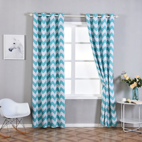 Blackout Curtains 52x96 White Turquoise Chevron Design Pack Of 2 Thermal Insulated With Chrome