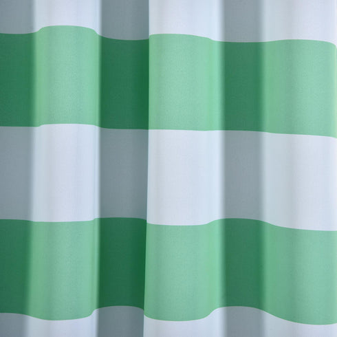 "Blackout Curtains 52""x108"" White/Mint Cabana Stripe Pack of 2 Thermal Insulated With Chrome Grommet Window Treatment Panels"