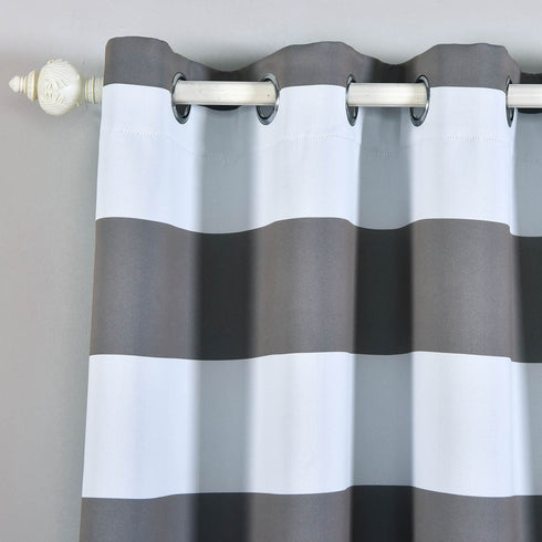 "Blackout Curtains 52""x108"" White/Charcoal Grey Cabana Stripe Pack of 2 Thermal Insulated With Chrome Grommet Window Treatment Panels"