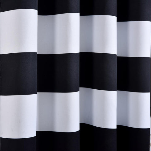 "Blackout Curtains 52""x108"" White/Black Cabana Stripe Pack of 2 Thermal Insulated With Chrome Grommet Window Treatment Panels"
