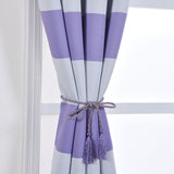 "Blackout Curtains 52""x108"" White/Lavender Cabana Stripe Pack of 2 Thermal Insulated With Chrome Grommet Window Treatment Panels"