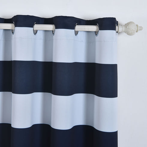 "Blackout Curtains 52""x108"" White/Navy Blue Cabana Stripe Pack of 2 Thermal Insulated With Chrome Grommet Window Treatment Panels"