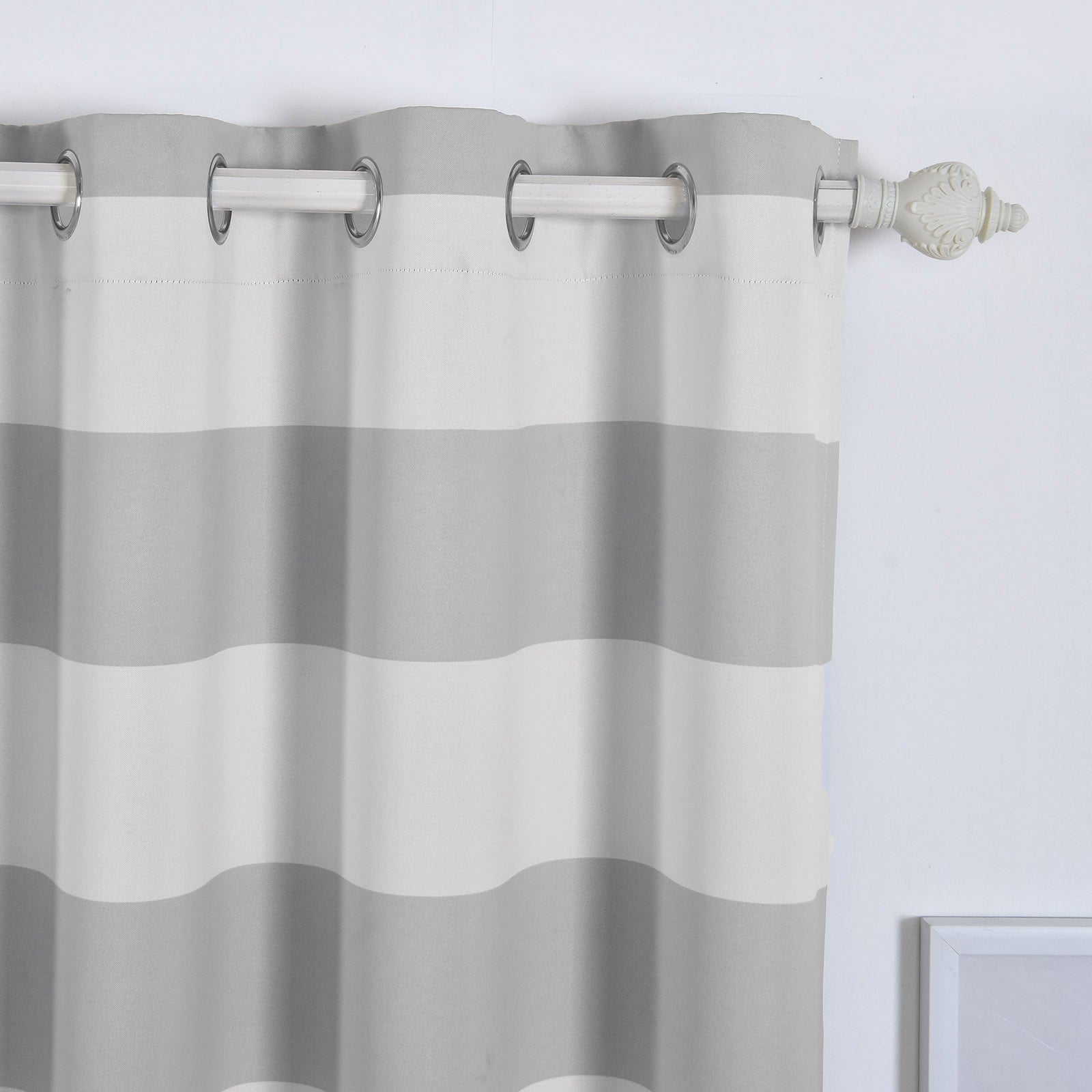 Blackout Curtains 52x108 White Silver Cabana Stripe Pack Of 2 Thermal Insulated With Chrome Grommet Window Treatment Panels