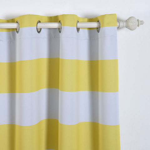 Blackout Curtains 52x108 White Yellow Cabana Stripe Pack Of 2 Thermal Insulated