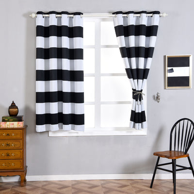 "Blackout Curtains 52""x64"" White/Black Cabana Stripe Pack of 2 Thermal Insulated With Chrome Grommet Window Treatment Panels"