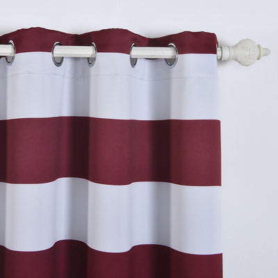 "Blackout Curtains 52""x64"" White/Burgundy Cabana Stripe Pack of 2 Thermal Insulated With Chrome Grommet Window Treatment Panels"