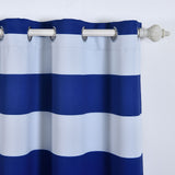 "Blackout Curtains 52""x64"" White/Royal Blue Cabana Stripe Pack of 2 Thermal Insulated With Chrome Grommet Window Treatment Panels"