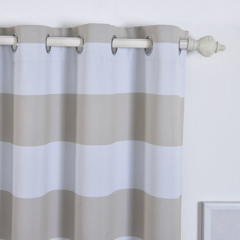 "Blackout Curtains 54x64"" White/Silver Cabana Stripe Pack of 2 Thermal Insulated With Chrome Grommet Window Treatment Panels"