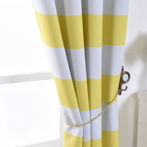 "Blackout Curtains 54x64"" White/Yellow Cabana Stripe Pack of 2 Thermal Insulated With Chrome Grommet Window Treatment Panels"