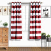 "52""x84"" Cabana Stripe Thermal Blackout Curtains With Chrome Grommet Window Treatment Panels - White 