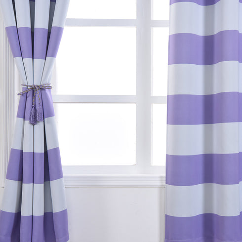 "Blackout Curtains 52""x84"" White/Lavender Cabana Stripe Pack of 2 Thermal Insulated With Chrome Grommet Window Treatment Panels"
