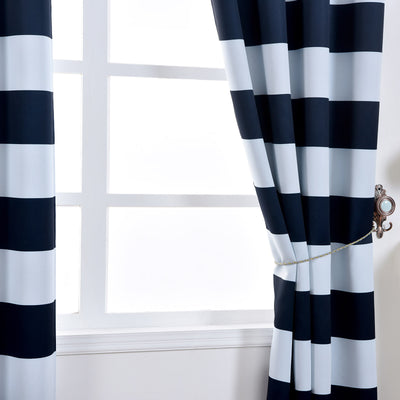 "Blackout Curtains 52""x84"" White/Navy Blue Cabana Stripe Pack of 2 Thermal Insulated With Chrome Grommet Window Treatment Panels"