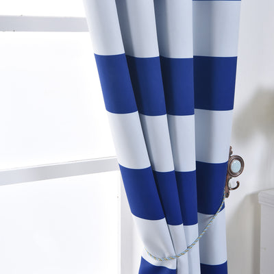 "Blackout Curtains 52""x84"" White/Royal Blue Cabana Stripe Pack of 2 Thermal Insulated With Chrome Grommet Window Treatment Panels"