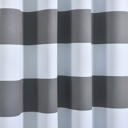 "Blackout Curtains 54x96"" White/Charcoal Gray Cabana Stripe Pack of 2 Thermal Insulated With Chrome Grommet Window Treatment Panels"