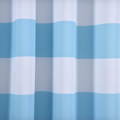 "Blackout Curtains 52""x96"" White/Blue Cabana Stripe Pack of 2 Thermal Insulated With Chrome Grommet Window Treatment Panels"