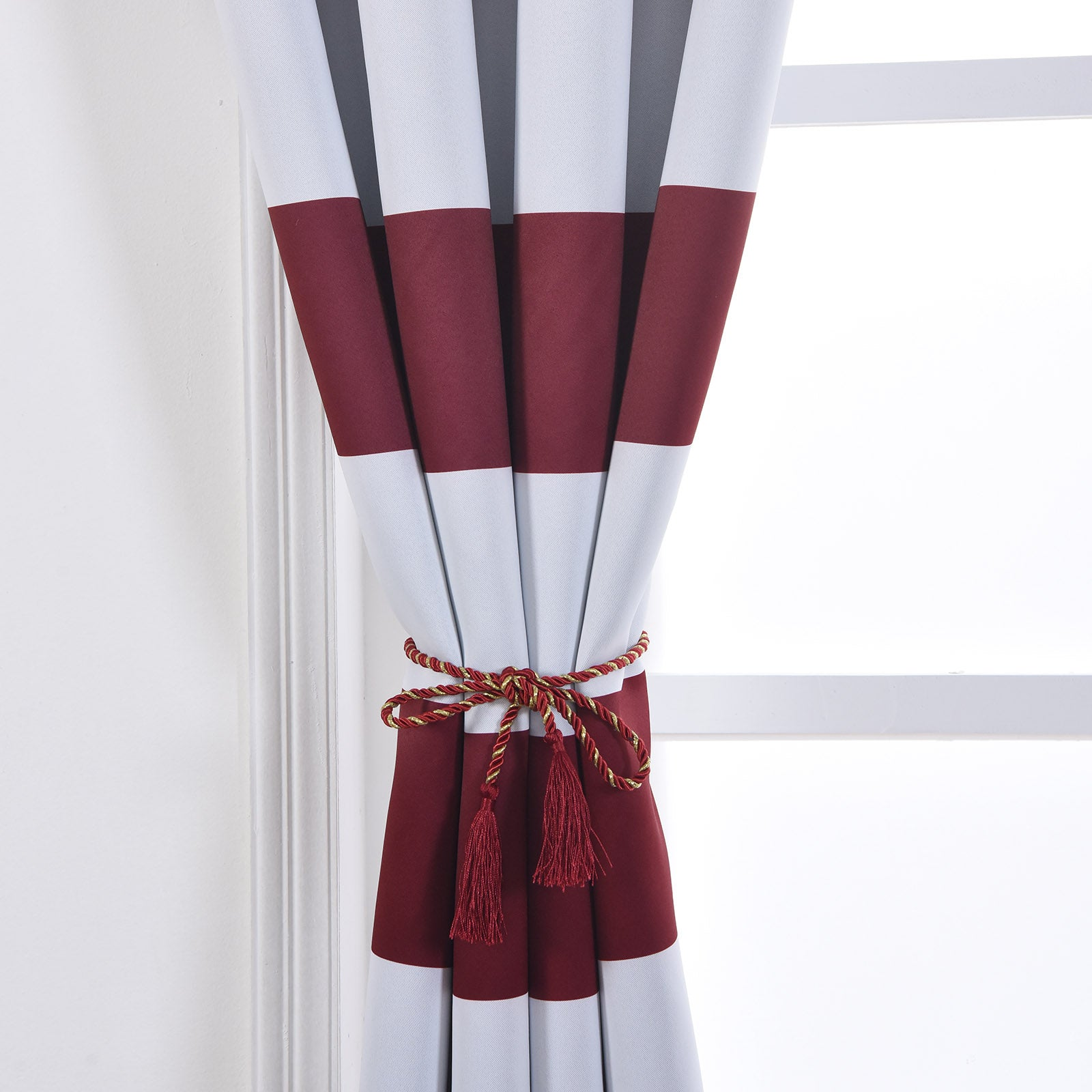 Blackout Curtains 52x96 White Burgundy Cabana Stripe Pack Of 2 Thermal Insulated