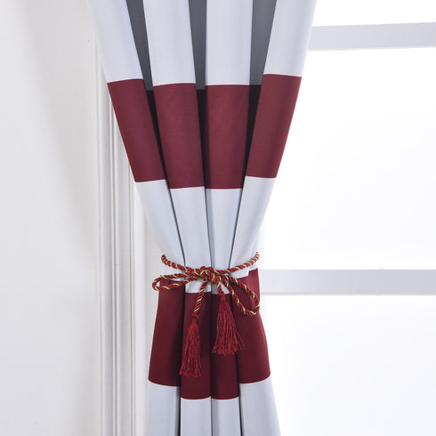 "Blackout Curtains 52""x96"" White/Burgundy Cabana Stripe Pack of 2 Thermal Insulated With Chrome Grommet Window Treatment Panels"
