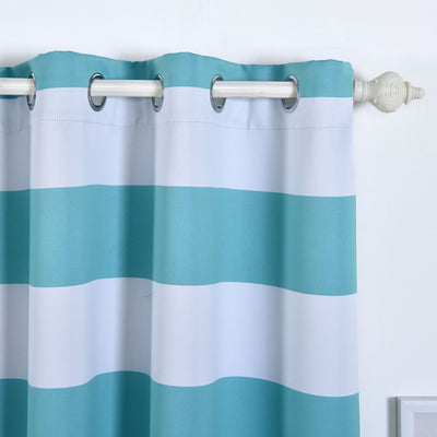 "Blackout Curtains 52""x96"" White/Turquoise Cabana Stripe Pack of 2 Thermal Insulated With Chrome Grommet Window Treatment Panels"