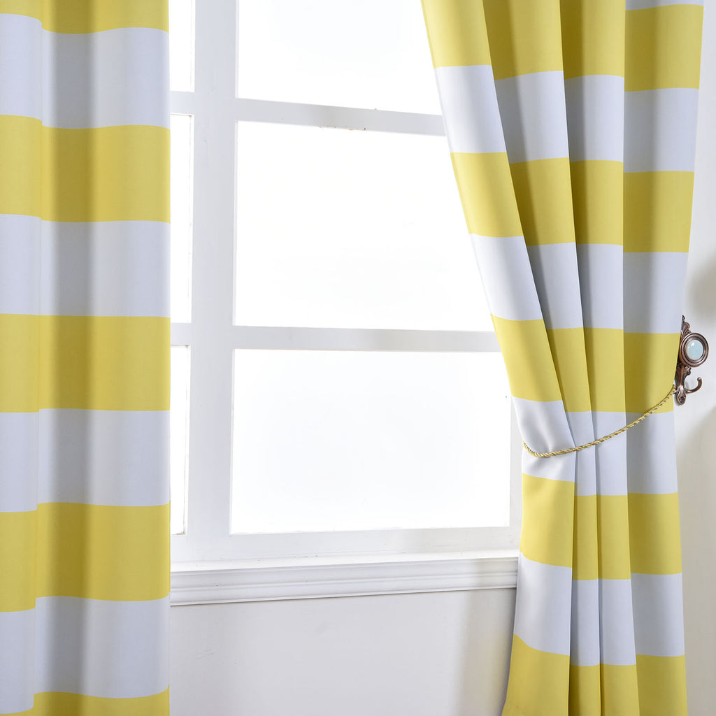 Blackout Curtains 52x96 White Yellow Cabana Stripe Pack Of 2 Thermal Insulated