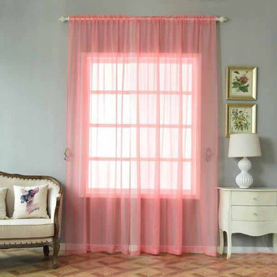 "2 Pack | 52""x108"" Rose Quartz Sheer Organza Curtains With Rod Pocket Window Treatment Panels"