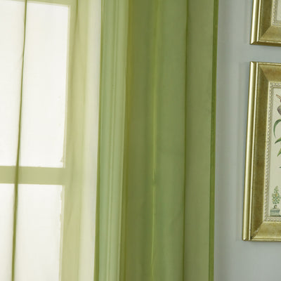 "52""x 108"" Willow Green Pack of 2 Sheer Organza with Rod Pocket Window Treatment Curtain Panels"