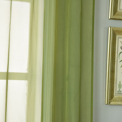 "Pack of 2 - 52""x108"" Moss Green Sheer Organza Curtains With Rod Pocket Window Treatment Panels"