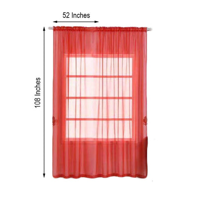 "2 Pack | 52""x108"" Coral Sheer Organza Curtains With Rod Pocket Window Treatment Panels"