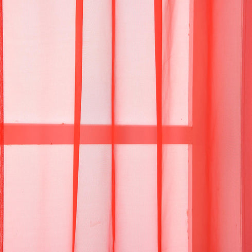 "Pack of 2 - 52""x108"" Coral Sheer Organza Curtains With Rod Pocket Window Treatment Panels"