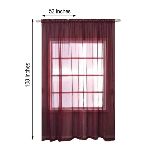 "2 Pack | 52""x108"" Burgundy Organza Grommet Sheer Curtains Panels"