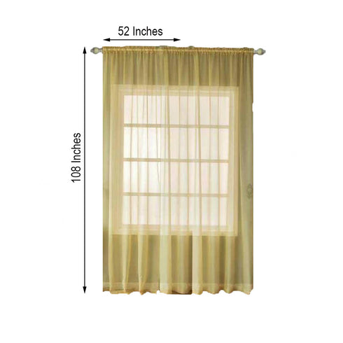 "2 Pack | 52""x108"" Champagne Sheer Organza Curtains With Rod Pocket Window Treatment Panels"
