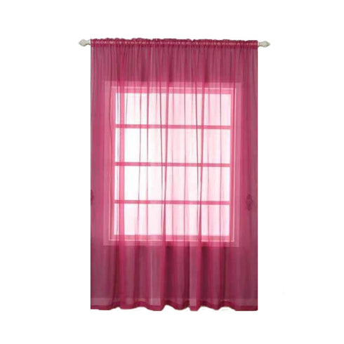 "2 Pack | 52""x108"" Fushia Sheer Organza Curtains With Rod Pocket Window Treatment Panels"