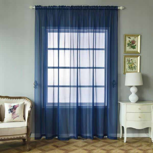"Pack of 2 - 52""x108"" Navy Blue Sheer Organza Curtains With Rod Pocket Window Treatment Panels"