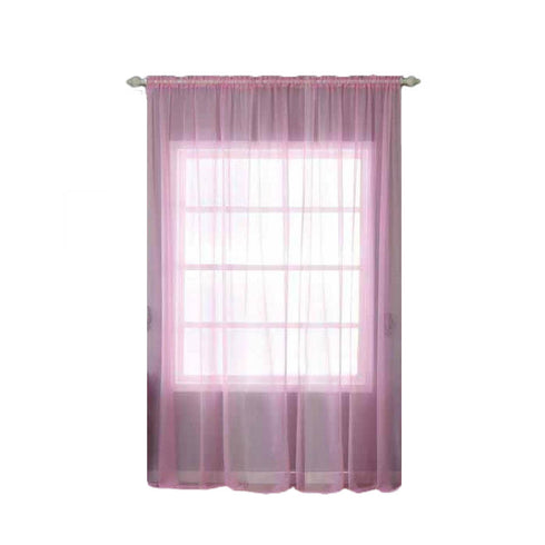 "2 Pack | 52""x108"" Pink Sheer Organza Curtains With Rod Pocket Window Treatment Panels"