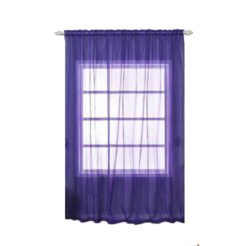"Pack of 2 - 52""x108"" Purple Silk Organza Sheer Curtains With Rod Pocket Window Treatment Panels"