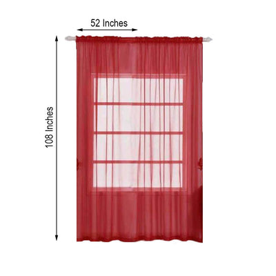 "2 Pack | 52""x108"" Red Sheer Organza Curtains With Rod Pocket Window Treatment Panels"