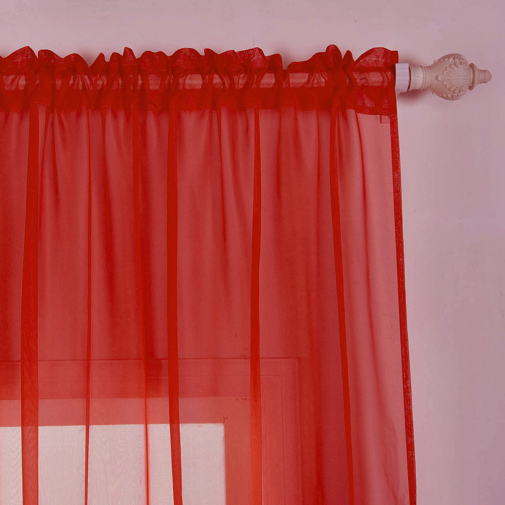 2 Pack 52 Quot X108 Quot Red Sheer Organza Curtains With Rod