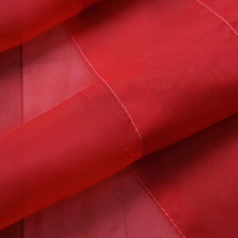 "Pack of 2 - 52""x108"" Red Sheer Organza Curtains With Rod Pocket Window Treatment Panels"