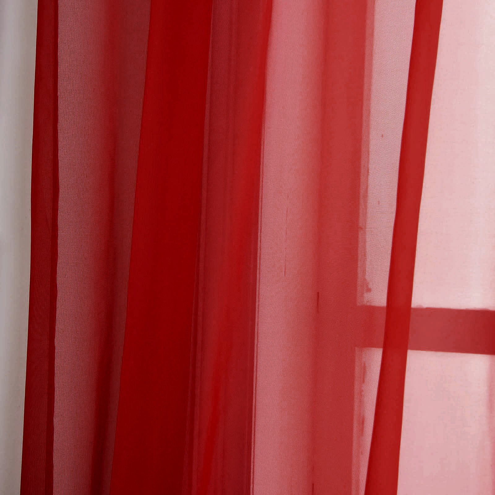"""Red Window Curtain Panels Sale: 52""""x108"""" Red Sheer Organza Curtains With Rod"""