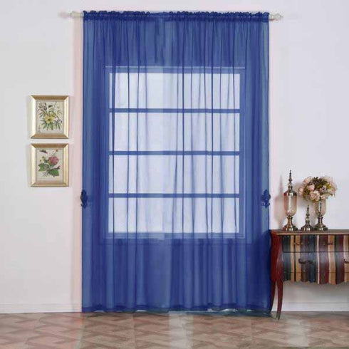 "2 Pack | 52""x108"" Royal Blue Sheer Organza Curtains With Rod Pocket Window Treatment Panels"