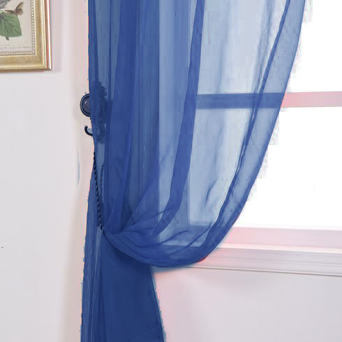 "Pack of 2 - 52""x108"" Royal Blue Sheer Organza Curtains With Rod Pocket Window Treatment Panels"
