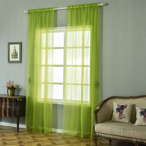 "Pack of 2 - 52""x108"" Sage Green Sheer Organza Curtains With Rod Pocket Window Treatment Panels"