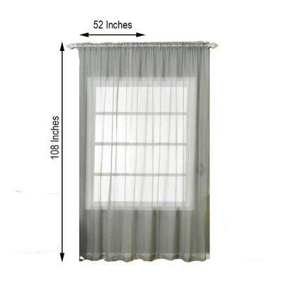 "2 Pack | 52""x108"" Silver Sheer Organza Curtains With Rod Pocket Window Treatment Panels"
