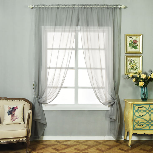 "52""x 108"" Silver Pack of 2 Sheer Organza with Rod Pocket Window Treatment Curtain Panels"