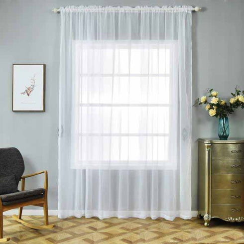 "2 Pack | 52""x108"" White Sheer Organza Curtains With Rod Pocket Window Treatment Panels"