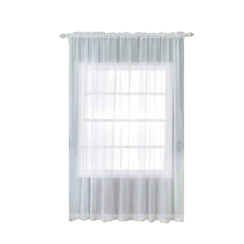 "2 Pack | 52""x108"" White Grommet Sheer Curtains With Rod Pocket Window Treatment Panels"