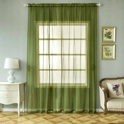 "2 Pack | 52""x108"" Willow Green Sheer Organza Curtains With Rod Pocket Window Treatment Panels"